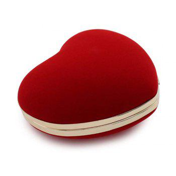 The Explosion Of High-grade Velvert Heart-shaped Evening Clutch Bag - RED