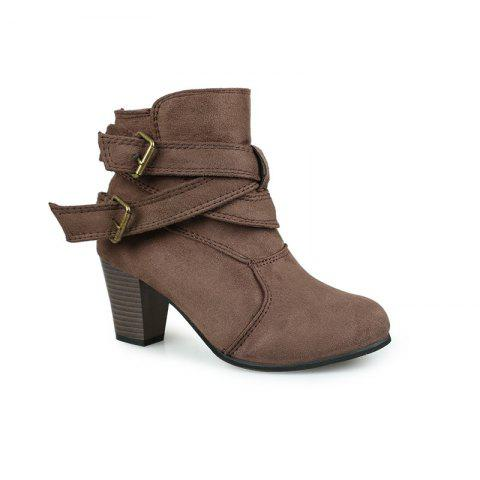 New Large Size High Heel and Round Head Belt Buckle Low Female Boots - BROWNIE 37