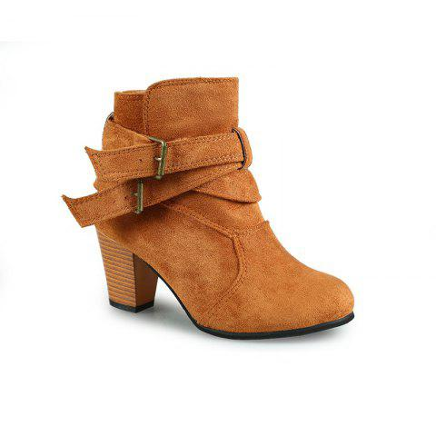 New Large Size High Heel and Round Head Belt Buckle Low Female Boots - BROWN 39