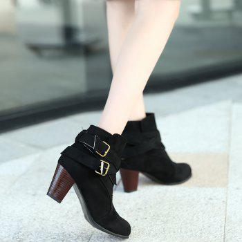 New Large Size High Heel and Round Head Belt Buckle Low Female Boots - BLACK BLACK