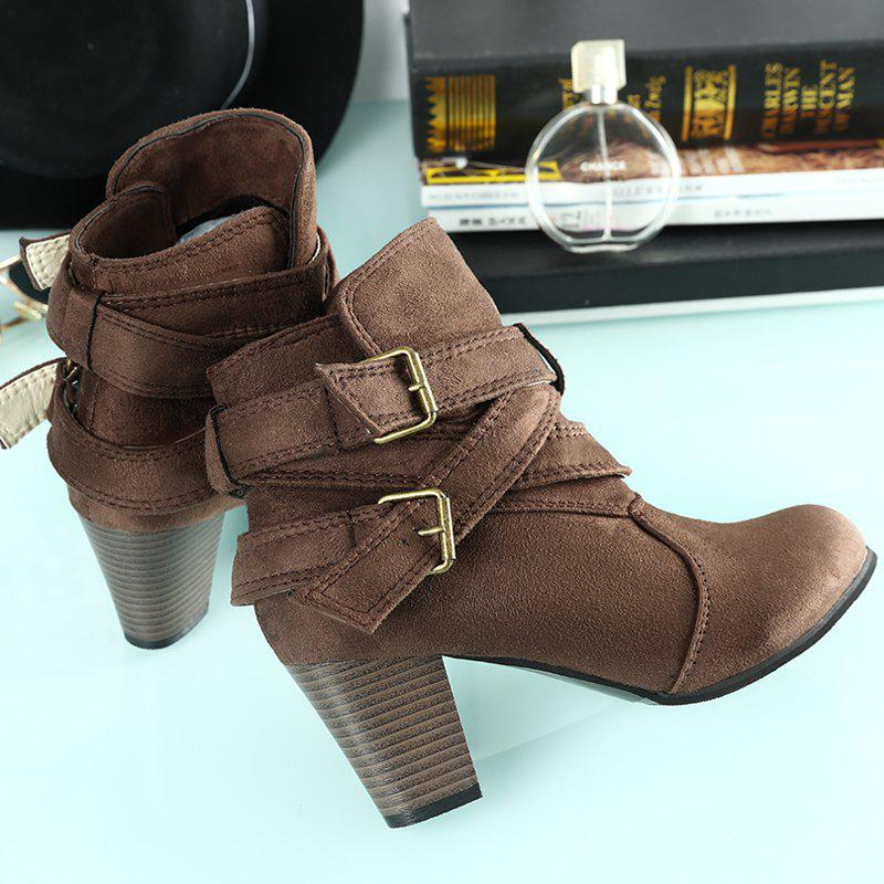 New Large Size High Heel and Round Head Belt Buckle Low Female Boots - BROWNIE 41
