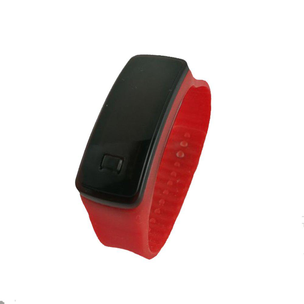 Square Dial LED Bracelet Digital Sports Watches For Men Ladies Child Clock Womens Wrist Watch Wristwatch - RED