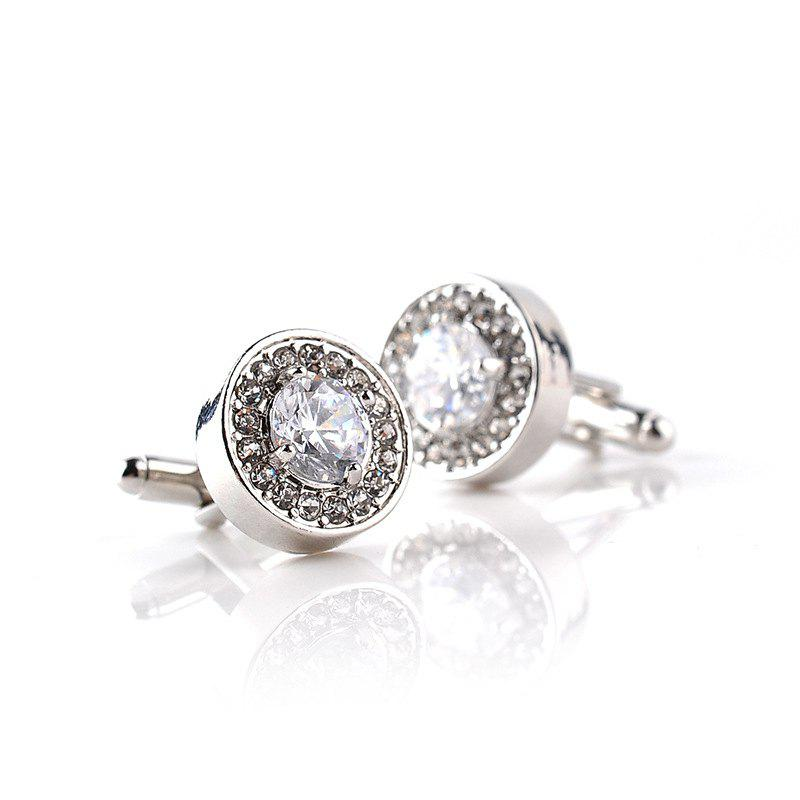 Fashion Business French Diamond Shirt Cufflinks - SILVER