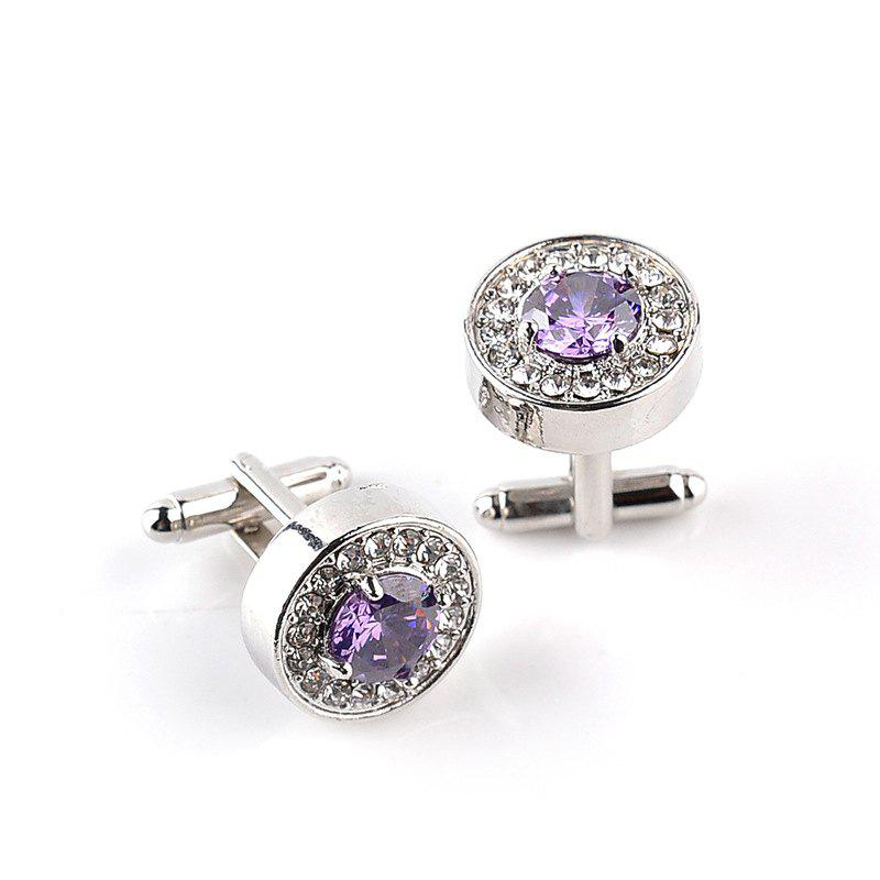 Fashion Business French Diamond Shirt Cufflinks - PURPLE
