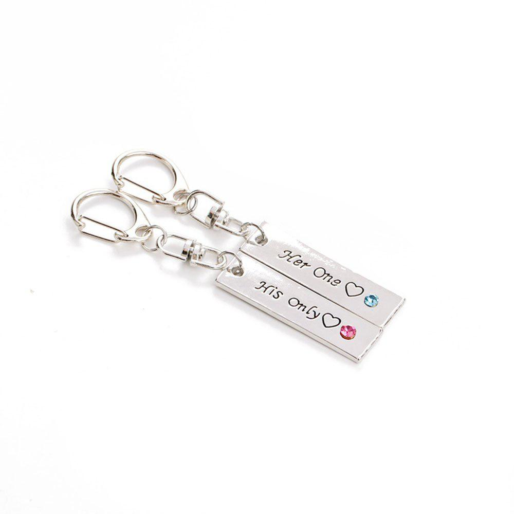 Her One His Only Diamond Couple Key Ring - BLUE