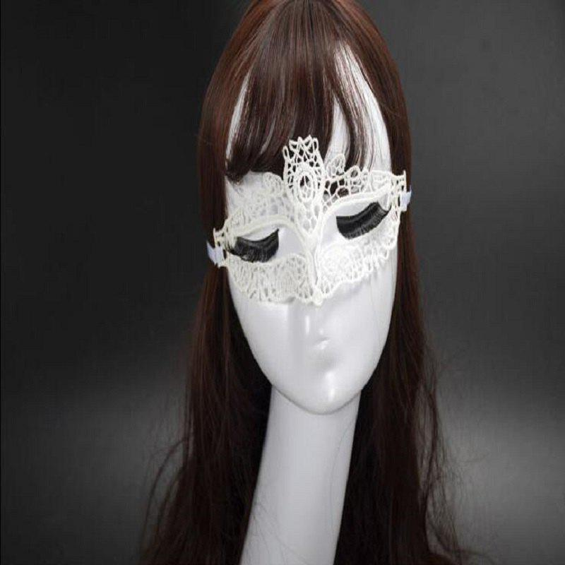 New Girls WomenMasquerade Dancing Party Eye Mask Cat Halloween Fancy Dress Costume - WHITE