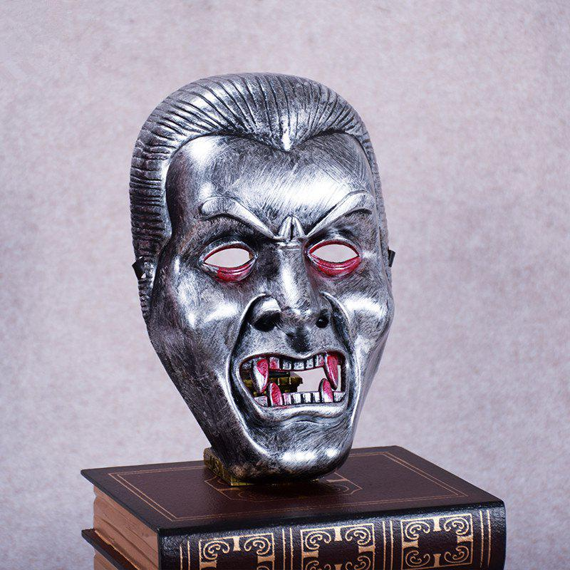 Vampire Face Mask Big Devil Shape Gray Plastic Masks Halloween Intimidation Dracula Party Decorating - SILVER GRAY