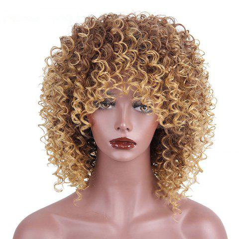 CHICSHE High Temperature Fiber Mixed Brown Blonde Color Synthetic Short Hair Afro Kinky Curly Wigs - 1