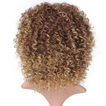 CHICSHE High Temperature Fiber Mixed Brown Blonde Color Synthetic Short Hair Afro Kinky Curly Wigs -