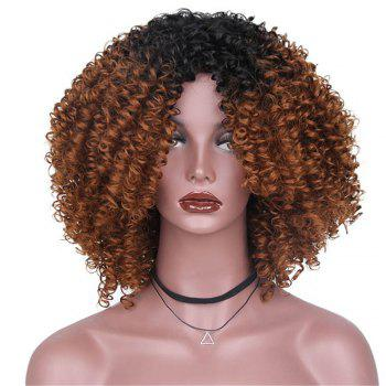 CHICSHE High Temperature Fiber Mixed Brown Blonde Color Synthetic Short Hair Afro Kinky Curly Wigs - 3