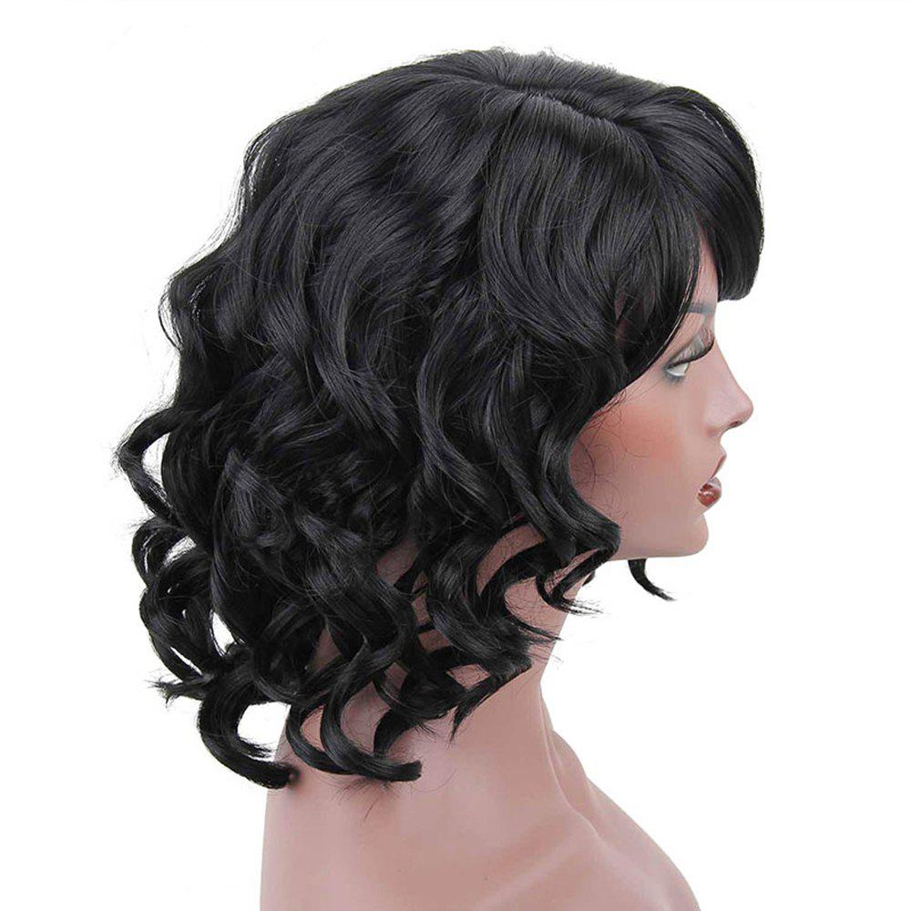 CHICSHE Synthetic Short Wigs for Black Women Wavy with Bangs Hairstyle Heat Resistant -
