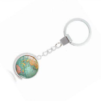 World Map Double-Sided Keyring - GREEN