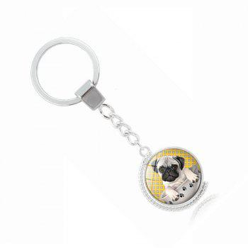 Porte-clés Teacup Pug Double-Sided - Jaune