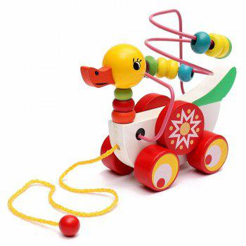 Animal Duckling Trailer Beads Toy -  COLOUR