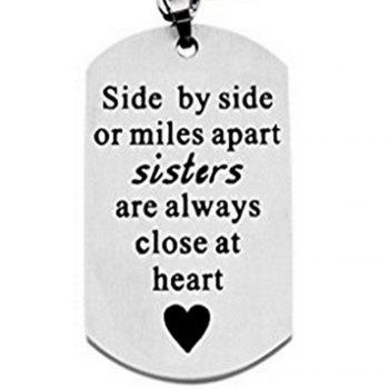 Side By Side Or Miles Apart Sisters Keychain - SILVER