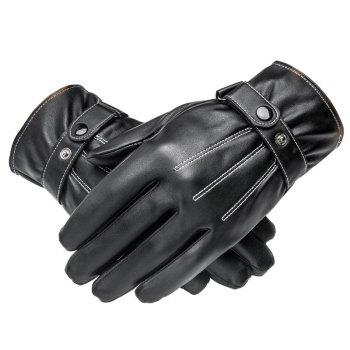 Men Cycling Autumn and Winter Plus Velvet Padded Outdoor Pu Leather Gloves - BLACK BLACK