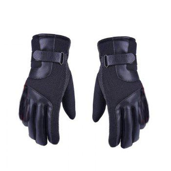 Autumn and Winter Ski Warm Cashmere Thickened Outdoor Cycling Gloves for Men and Women To Prevent Cold Wind - BLACK BLACK