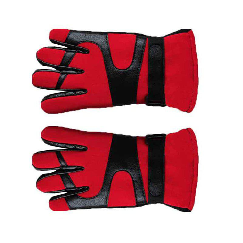 Autumn and Winter Ski Warm Cashmere Thickened Outdoor Cycling Gloves for Men and Women To Prevent Cold Wind - RED