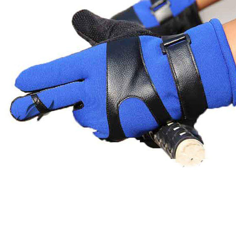 Autumn and Winter Ski Warm Cashmere Thickened Outdoor Cycling Gloves for Men and Women To Prevent Cold Wind - BLUE