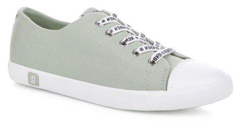 Fall Woman Flat Lace-Up Canvas Shoes - GREEN 37