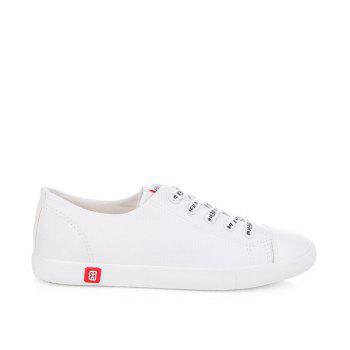 Fall Woman Flat Lace-Up Canvas Shoes - WHITE WHITE