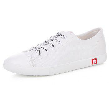 Fall Woman Flat Lace-Up Canvas Shoes - WHITE 37