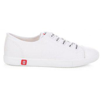 Fall Woman Flat Lace-Up Canvas Shoes - WHITE 36