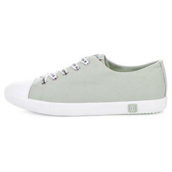 Fall Woman Flat Lace-Up Canvas Shoes - GREEN GREEN