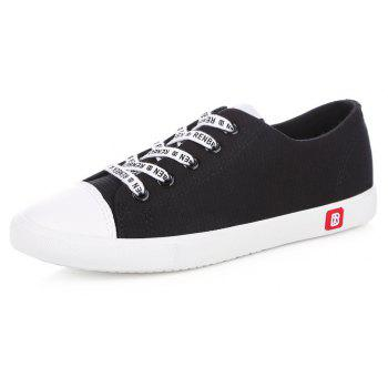 Fall Woman Flat Lace-Up Canvas Shoes - BLACK 36