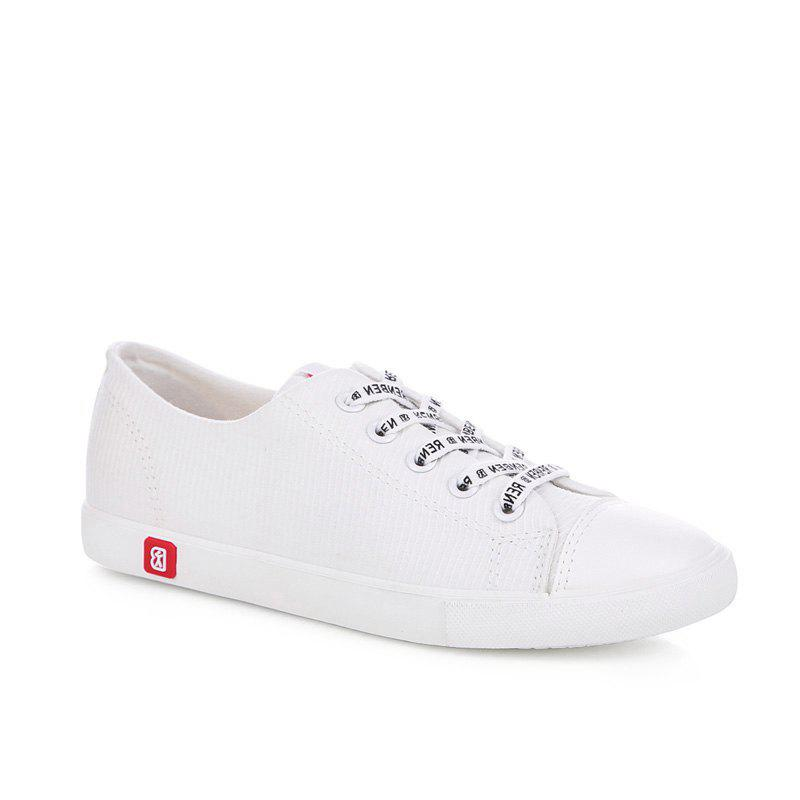 Fall Woman Flat Lace-Up Canvas Shoes - WHITE 35