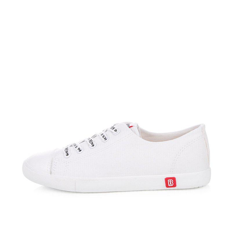 Fall Woman Flat Lace-Up Canvas Shoes - WHITE 38