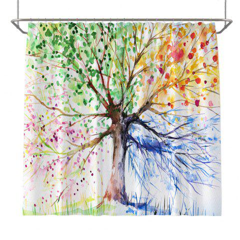 Colorful Tree Four Seasons Shower Curtain Extra Long Bath Decorations Bathroom Decor Sets with Hooks Print Polyester - COLOUR W59 INCH * L71 INCH