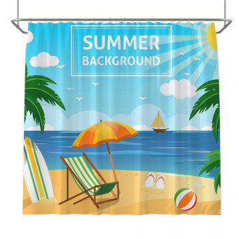 Colorful Tree Four Seasons Shower Curtain Extra Long Bath Decorations Bathroom Decor Sets with Hooks Print Polyester - AZURE AZURE