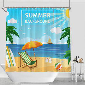 Colorful Tree Four Seasons Shower Curtain Extra Long Bath Decorations Bathroom Decor Sets with Hooks Print Polyester - AZURE W71 INCH * L79 INCH