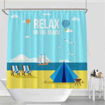 Colorful Tree Four Seasons Shower Curtain Extra Long Bath Decorations Bathroom Decor Sets with Hooks Print Polyester - CERULEAN W71 INCH * L79 INCH