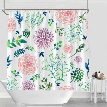 Colorful Tree Four Seasons Shower Curtain Extra Long Bath Decorations Bathroom Decor Sets with Hooks Print Polyester - WHITE/GREEN WHITE/GREEN