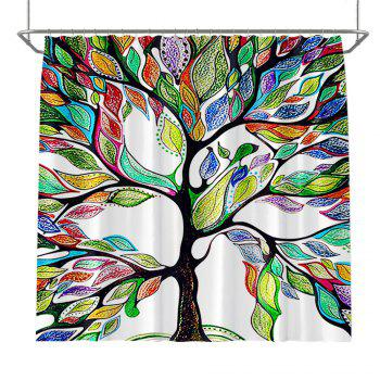 Colorful Tree Four Seasons Shower Curtain Extra Long Bath Decorations Bathroom Decor Sets with Hooks Print Polyester - MULTI multicolor