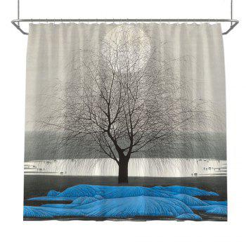 Colorful Tree Four Seasons Shower Curtain Extra Long Bath Decorations Bathroom Decor Sets with Hooks Print Polyester - BLUE BLUE