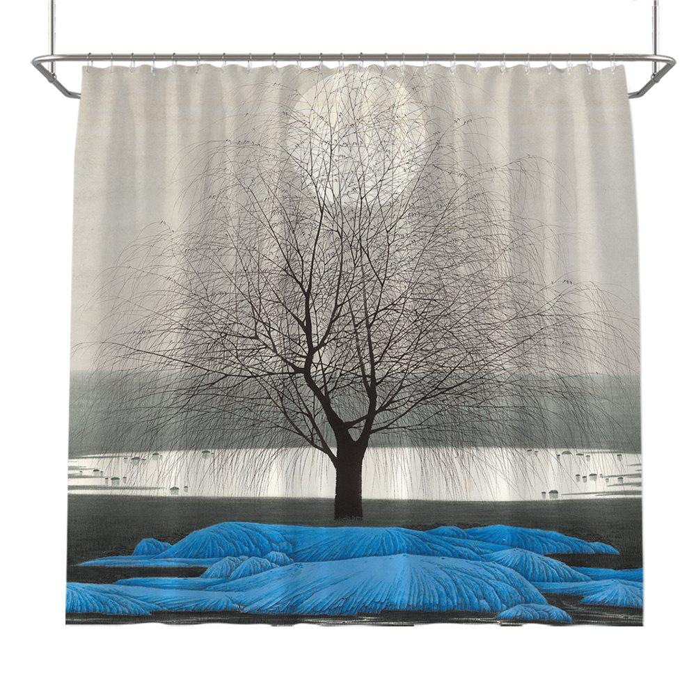 Colorful Tree Four Seasons Shower Curtain Extra Long Bath Decorations Bathroom Decor Sets with Hooks Print Polyester - BLUE W71 INCH * L71 INCH