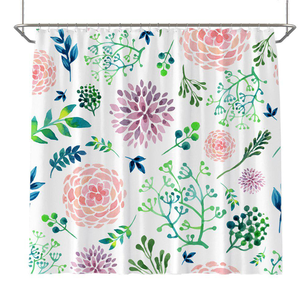 Colorful Tree Four Seasons Shower Curtain Extra Long Bath Decorations Bathroom Decor Sets with Hooks Print Polyester - WHITE/GREEN W71 INCH * L79 INCH
