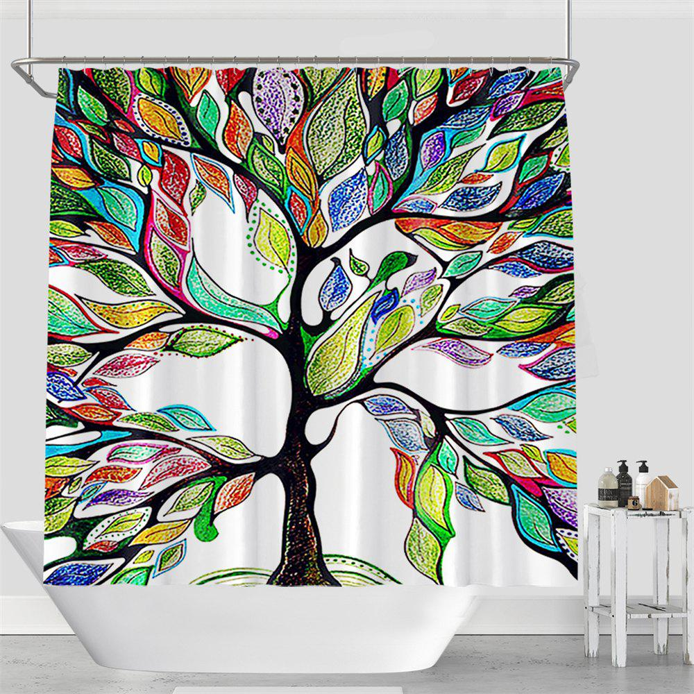 Colorful Tree Four Seasons Shower Curtain Extra Long Bath Decorations Bathroom Decor Sets with Hooks Print Polyester - multicolor W71 INCH * L79 INCH