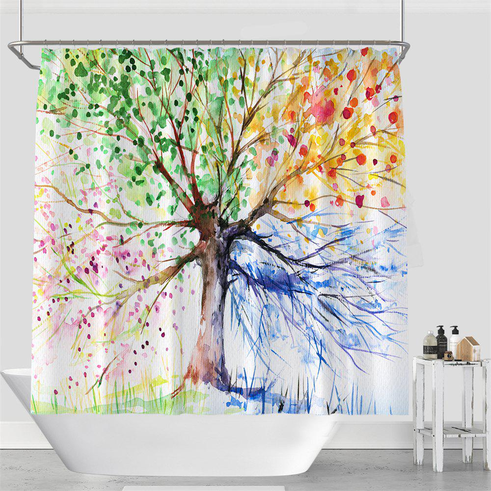 Colorful Tree Four Seasons Shower Curtain Extra Long Bath Decorations Bathroom Decor Sets with Hooks Print Polyester - COLOUR W71 INCH * L79 INCH