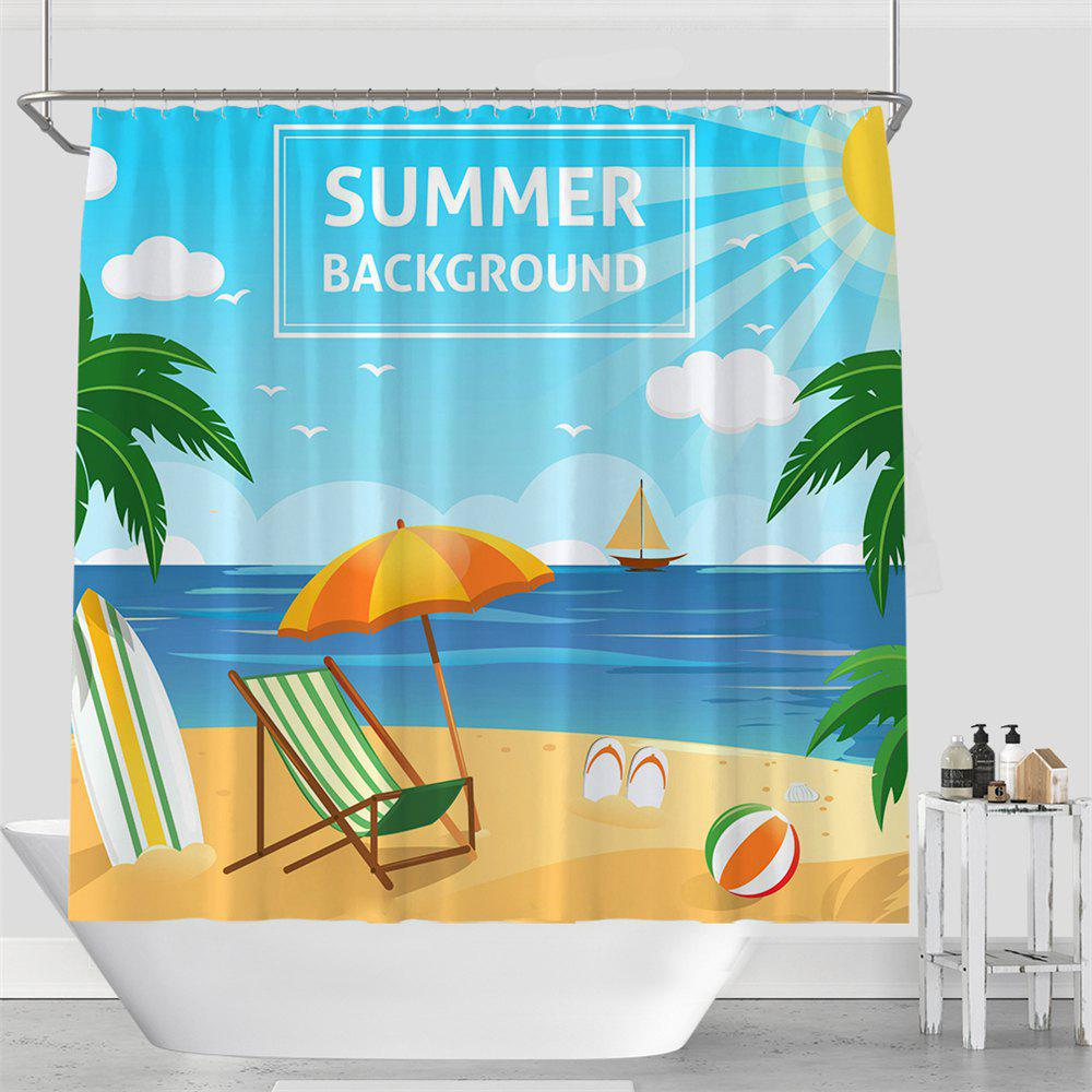 Colorful Tree Four Seasons Shower Curtain Extra Long Bath Decorations Bathroom Decor Sets with Hooks Print Polyester - AZURE W59 INCH * L71 INCH