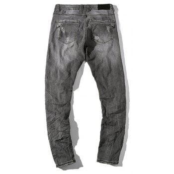 Hole Straight Washed Jeans - DARK GREY 38