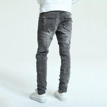Hole Straight Washed Jeans - DARK GREY 36