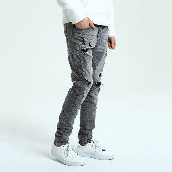 Hole Straight Washed Jeans - DARK GREY 31