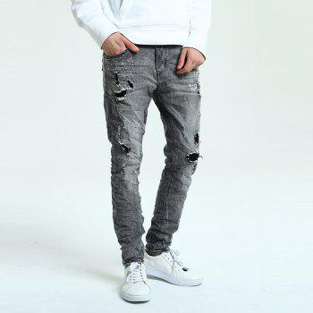 Hole Straight Washed Jeans - DARK GREY 32