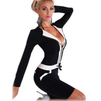 Long Sleeve Black and White Patchwork Dress - BLACK XL
