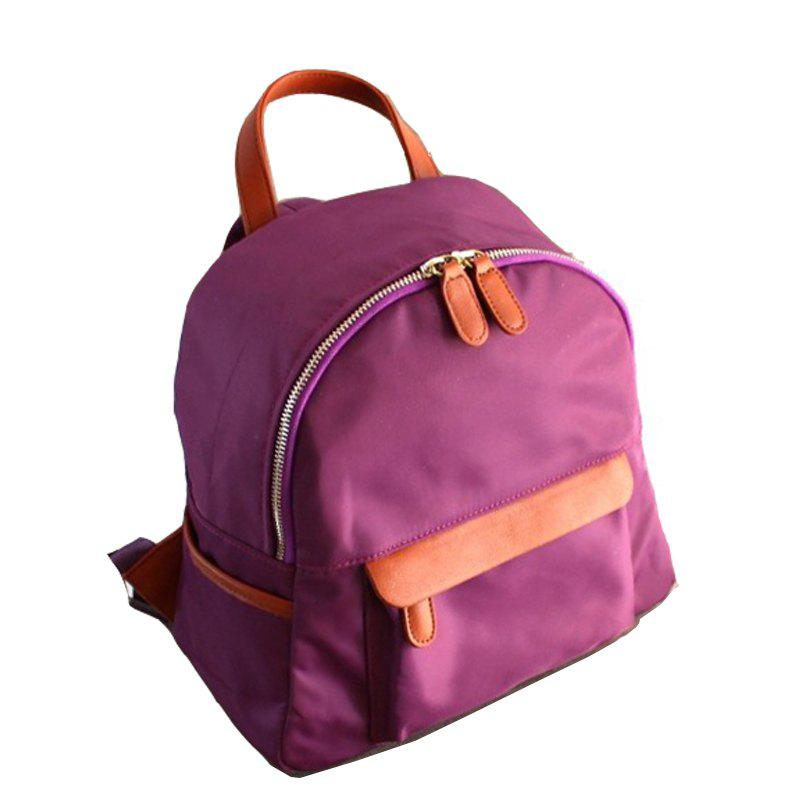 Women's Waterproof Nylon Fashion A Bag Backpack Schoolbags - PURPLE