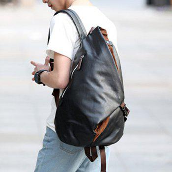 Men's Backpack Large Capacity Laptop Bag Korean Unisex Travel Rucksack Leather Knapsack - BLACK